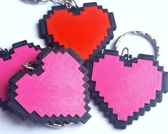 8-Bit Heart Keyring - 3D printed