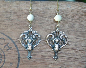 Dauphin Sprite Putti Ornate Filigree Art Nouveau Earrings with Vintage Mother of Pearl Beads French Brass Antique Vintage Style
