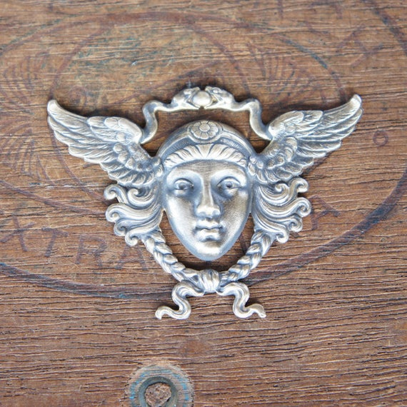 Vintage French Brass Stamping/Antique Style/Mercury Hermes Egyptian Winged Go...