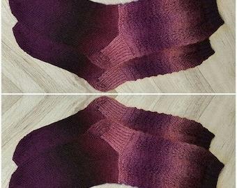 Purple wool socks with lace, lace socks, women socks, purple socks, warm socks, wool socks, winter socks, knit socks, virgin wool socks