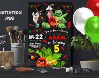 Angry Birds Invitation, Angry Birds Party, Angry Birds Birthday Invitation, Boy Angry Birds Invitation, Angry Birds Theme Printables