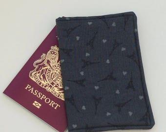 Eiffel Tower fabric passport cover.  Paris passport cover.