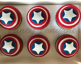 12 Edible Fondant Captain America Cupcake Decorations Toppers