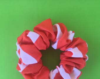 orange & white scrunchie