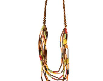Multicolored Beaded Wood layered necklace