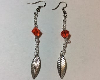 """Leaf and Austrian Crystal chained"" earrings"
