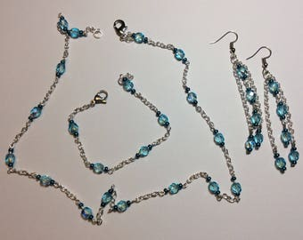 """Adornment """"Chained turquoise faceted pearls"""""""