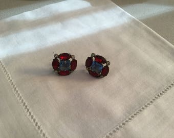 Vintage CORO  rhinestone earrings. Blue and Red stones in wonderful condition.