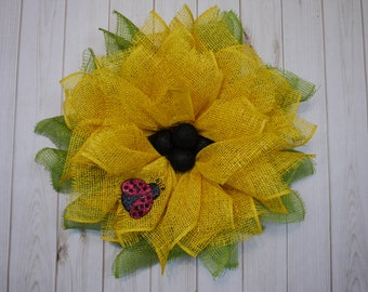 Free Shipping, Sun Flower Wreath, Mother's Day Wreath, Summer Wreath, Yellow Flower with Ladybug Wreath, Housewarming, Birthday Gift