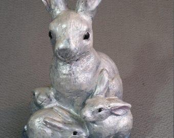 Concrete Bunny Statue Lawn Ornament