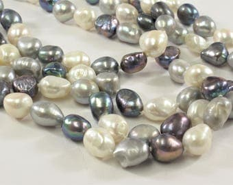 64 inches 8-9 x 10-11 mm Nugget Pearl Necklaces, Long Pearl Nugget Necklace, Natural Freshwater Pearl Bridal Wedding Necklaces (224-NKNMIX)