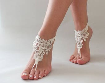 EXPRESS SHIPPING lace barefoot sandals beach wedding barefoot sandals beach barefoot lace anklet silver frame lace anklet lace sandals