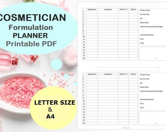 Cosmetics: formula worksheet for handmade cosmetics, cosmetician planner Printable Letter size A4 digital download.