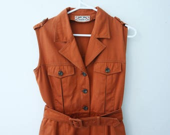 Orange button up military style dress
