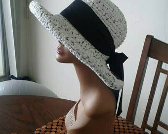 Summer cotton hat - ready to ship Salt &Pepper color . SUMMER SALE price cut