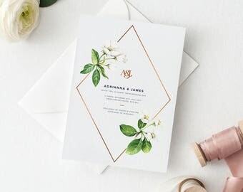 White Floral Wedding Invitation Suite Sample Set - Chic White Flowers with Copper Foil Detail & Monogram Wedding Invitation