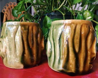 Vintage Ceramic Tree Mugs, Pair of Bohemian Two-Toned Glazed Coffee Cups