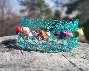 Teal Rainbow Skull Bracelet