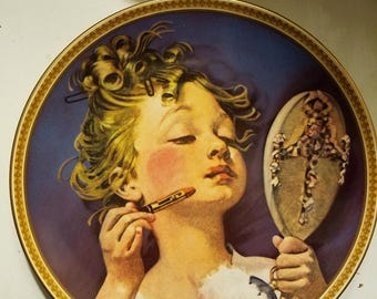 """Norman Rockwell Plate """"Making Believe in the Mirror"""""""