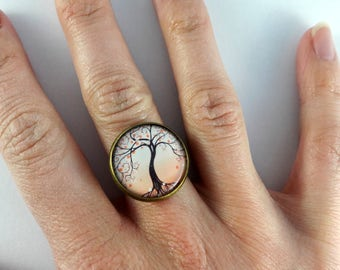 Ring adjustable pattern tree of life