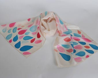 Hand painted scarf in chiffon