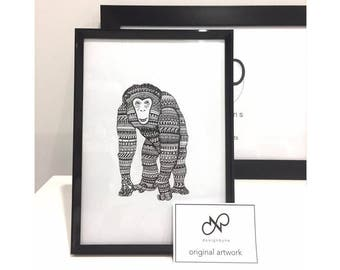 ORIGINAL ART Chimpanzee