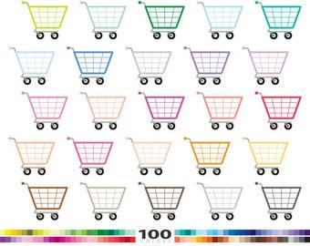 Shopping Cart clipart 100 rainbow colors supermarket shop icon vector eps png illustration planner stickers clip art set