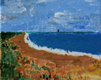 "Beach1 - Acrylic 6""x6"" Stretched Canvas"