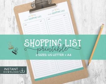 Shopping List, Grocery List, Shopping List PDF, Food Shopping List, Meal Plan, Grocery List PDF, Printable PDF, Printable List, Meal Planner