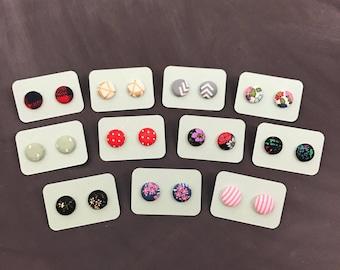 Single Pair, Button Earrings, Fabric Button Earrings, Handmade Earrings