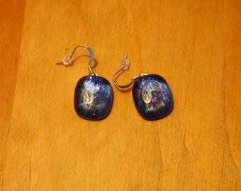 Blue iridescent earrings