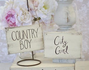 Bride and Groom Chair Signs Country Boy City Girl (item P10607)
