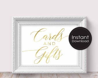 Cards and Gifts sign, Printable Wedding Signs, Faux Gold Color, ReceptionPrintable Wedding Decor, Instant Download, Digital Printable File