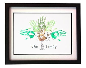 A3 Framed Family Handprint Tree Gift - Capture unique and everlasting memories in a modern art centre piece