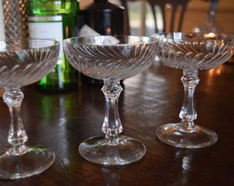 Three Victorian Baccarat Crystal Champagne Glasses