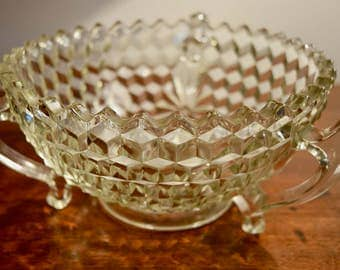 A rare Fostoria Art Deco Three Handled Cube Glass Bowl