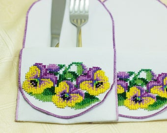 Bead-embroidered cutlery wraps envelopes wallets pansy flower pansies hand embroidery table decoration Ukrainian