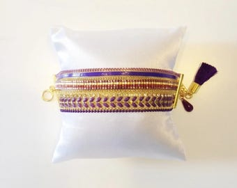 Cuff Bracelet beads Miyuki purple and gold, chains and Pompom