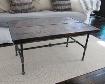 Reclaimed Wood Coffee Table with Pipe Legs,Industrial Wood Coffee Table,Coffee Table with Pipe Legs