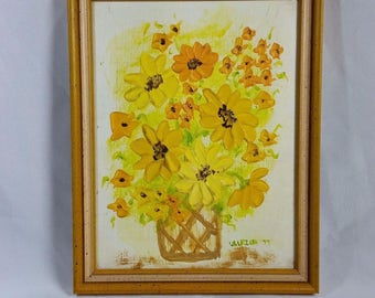 """Oil Painting on Wood Floral Wood Frame SIGNED Ullrich 1977 9"""" x 11"""""""