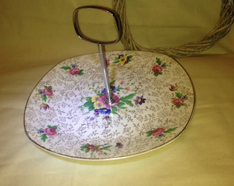 Stylectaft Midwinter Cake stand - Staffordshire England Rare Floral Flower one tier Dessert Stand