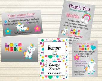 DotDotSmile Marketing Kit with Cute Unicorn, Small Kit, Printable, Customized, Digital DotDotSmile