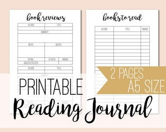 Printable reading journal - book reading tracker - A5 planner inserts - book planner - book review - reading log - INSTANT DOWNLOAD