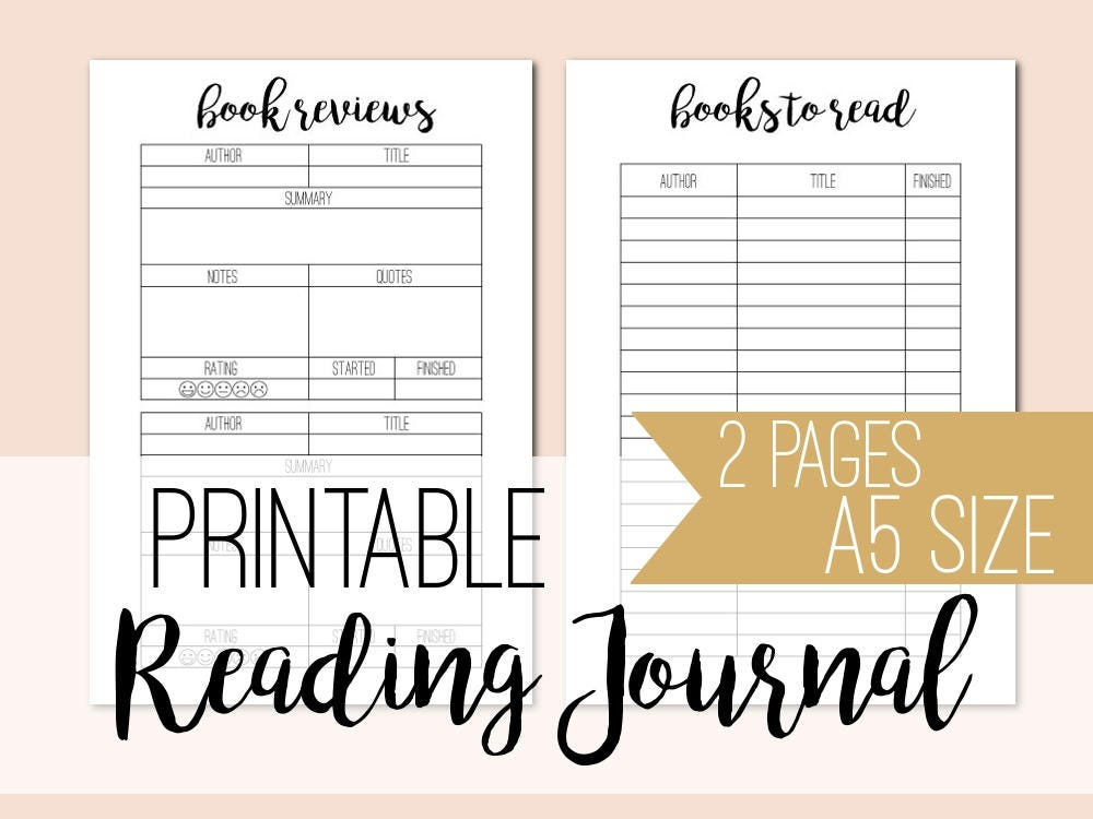 It is a graphic of Clean Reading Journal Printable