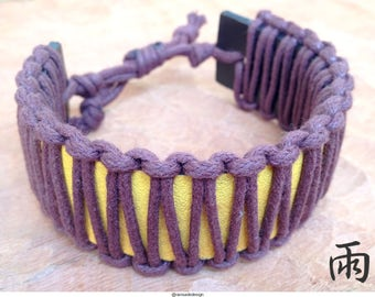 Macrame with leather bracelet, truly unique