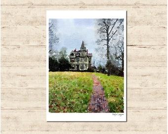 House Watercolour Painting Postcard Poster Art Print Q279