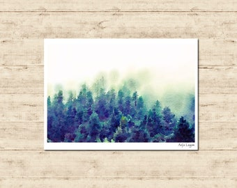 Forest Watercolour Painting Postcard Poster Art Print Q342