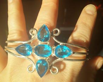 Blue Topaz Cuff Bracelet, Free Shipping, Canada