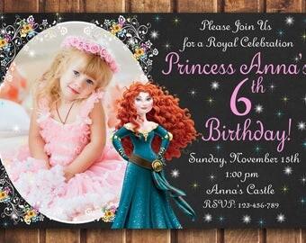 SALE Merida Brave Invitation - Brave Birthday Party Invitation - Merida Printable - Brave Invitation -digital z