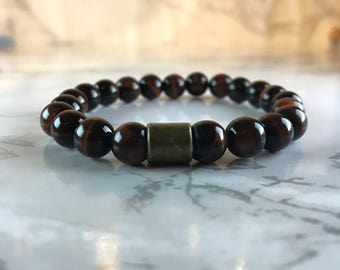Red Tiger Eye Bracelet with Antique Bronze Feature Bead.